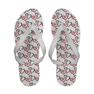 Entwined Hearts Design Wedding Flip Flops