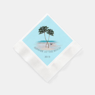 Entwined Palm Trees Summer Beach Custom Napkins Paper Napkin