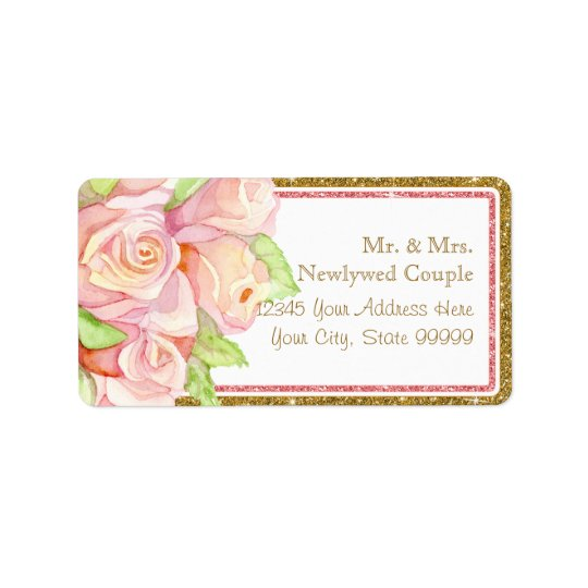 Envelope Address Labels Watercolor Rose Bouquet