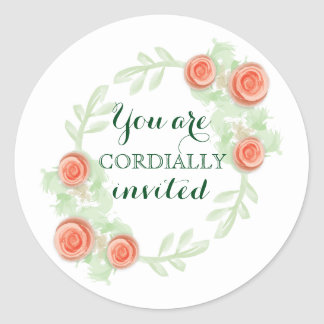 Envelope Invitation Sticker - Floral Rose Wreath