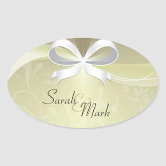 Envelope Seal Ivory & White Floral Ribbon Wedding Oval Sticker