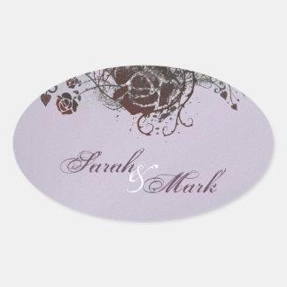 Envelope Seal Purple & Red Rose Elegant Wedding Oval Sticker