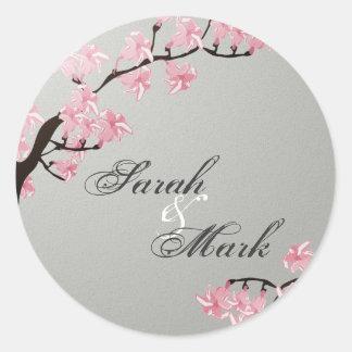 Envelope Seal Slate Grey & Pink Cherry Blossoms Round Sticker