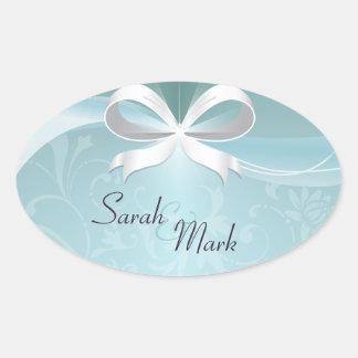 Envelope Seal Teal & White Floral Ribbon Wedding Oval Sticker