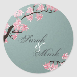 Envelope Seal Turquoise & Pink Cherry Blossoms Round Sticker
