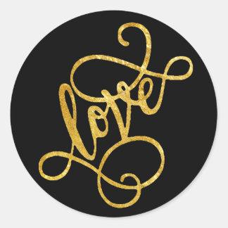 envelope seal typography love foil script on black round sticker