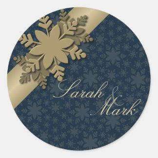 Envelope Seal White & Gold Snowflake Wedding Round Sticker