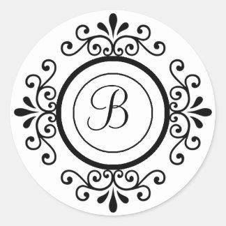 Envelope Seals Monogram B For Wedding Invitaitons Round Sticker