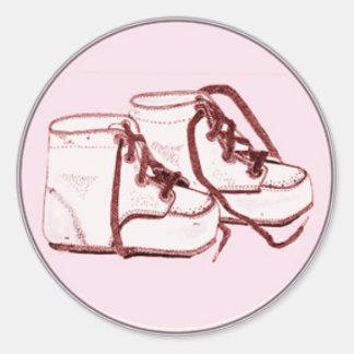 Envelope Seals Pink Vintage Baby Shoes Round Sticker