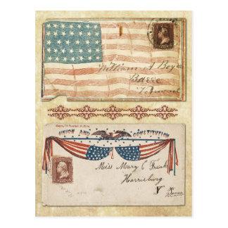 Enveloppes timbrées de guerre civile avec le drape carte postale