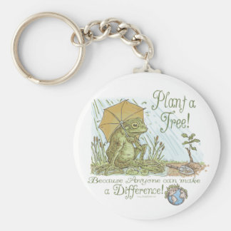 Enviro Frog Plant a Tree  Earth Day Gear Basic Round Button Keychain