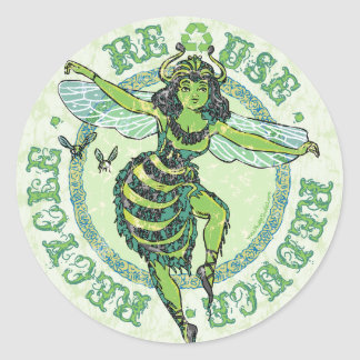 Enviro Green Bee Earth Day Gear Classic Round Sticker