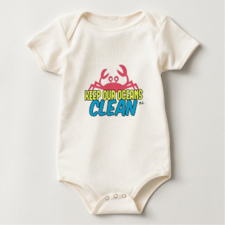 Environment Keep Our Oceans Clean Slogan Baby Bodysuit