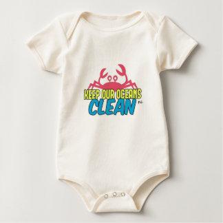 Environment Keep Our Oceans Clean Slogan Baby Bodysuit