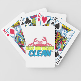 Environment Keep Our Oceans Clean Slogan Bicycle Playing Cards