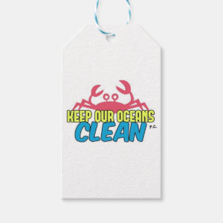 Environment Keep Our Oceans Clean Slogan Gift Tags