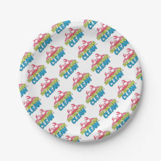 Environment Keep Our Oceans Clean Slogan Paper Plate