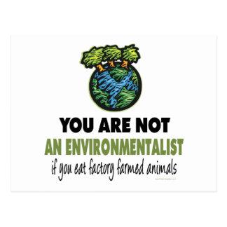 Environmentalist = Vegan, Vegetarian Post Card