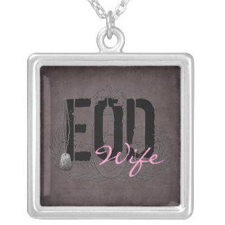 EOD Wife with dog tags Silver Plated Necklace