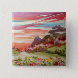 """Eon Isle: Sunset Mountain"" square Button/ Pin"
