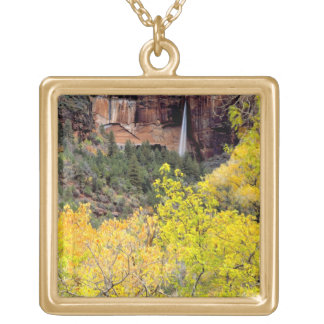 Ephemeral waterfall pours out of slot in cliff 2 gold plated necklace