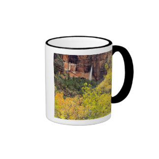Ephemeral waterfall pours out of slot in cliff ringer coffee mug