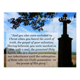 Ephesians 1 13 14 Cross Scripture Memory Card Postcard