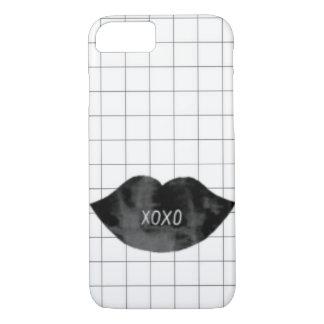 Epic classy black lips xoxo checkprint phone case. iPhone 8/7 case