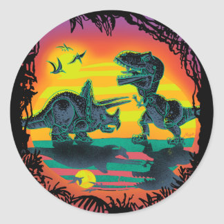 EPIC DINOSAUR BATTLE at Prehistoric Dawn Classic Round Sticker