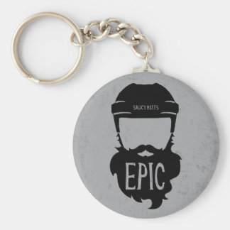 Epic Hockey Playoff Beard Basic Round Button Keychain