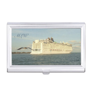 Epic Pursuit - Bird and Cruise Ship Monogrammed Business Card Holder