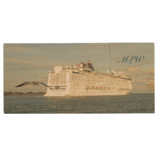 Epic Pursuit - Bird and Cruise Ship Monogrammed Wood USB Flash Drive