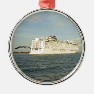 Epic Pursuit - Bird Follows Cruise Ship Silver-Colored Round Ornament