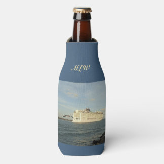 Epic Pursuit - Cruise Ship and Gull Monogrammed Bottle Cooler