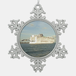 Epic Pursuit - Cruise Ship and Gull Pewter Snowflake Ornament
