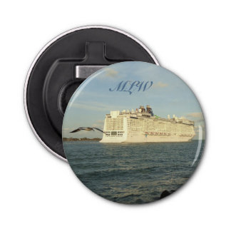 Epic Pursuit - Gull and Cruise Ship Monogrammed Button Bottle Opener