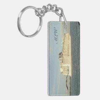 Epic Pursuit - Gull Behind Cruise Ship Monogrammed Double-Sided Rectangular Acrylic Keychain