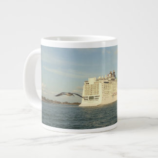 Epic Pursuit - Gull Following Cruise Ship Large Coffee Mug