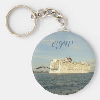 Epic Pursuit - Gull Following Cruise Ship Monogram Keychain