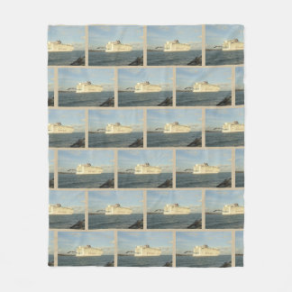Epic Pursuit Gull Following Cruise Ship Patterned Fleece Blanket