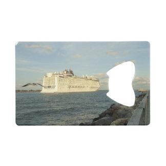 Epic Pursuit - Gull Follows Cruise Ship Credit Card Bottle Opener