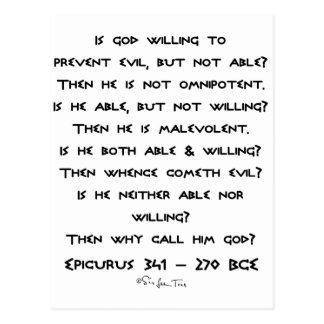 Epicurus - Why call him god? - Plain Postcard
