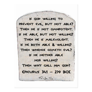 Epicurus - Why call him god? Postcard