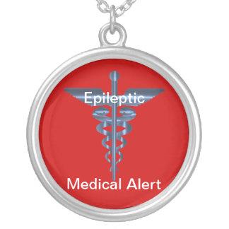Epileptic Medical Alert Asclepius Caduceus Necklac Round Pendant Necklace