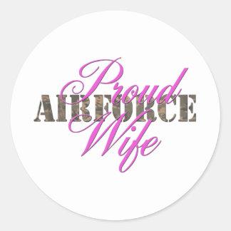 épouse fière de l Armée de l Air Adhésif Rond