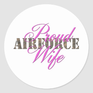 épouse fière de l'Armée de l'Air Adhésif Rond
