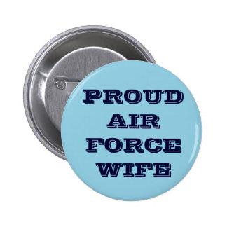 Épouse fière de l'Armée de l'Air de bouton Badges Avec Agrafe