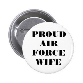 Épouse fière de l'Armée de l'Air de bouton Badges