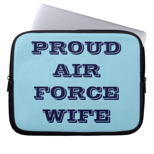 Épouse fière de l'Armée de l'Air de douille d'ordi Trousses Pour Ordinateur Portable