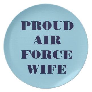 Épouse fière de l'Armée de l'Air de plat Assiettes Pour Soirée